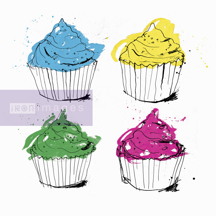 Four brightly colored cupcakes - Four brightly colored cupcakes - Ben Tallon