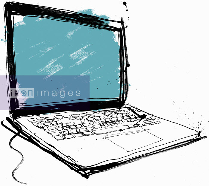 Close up drawing of laptop with blank screen - Close up drawing of laptop with blank screen - Ben Tallon