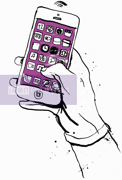 Hand holding smart phone with lots of apps - Hand holding smart phone with lots of apps - Ben Tallon