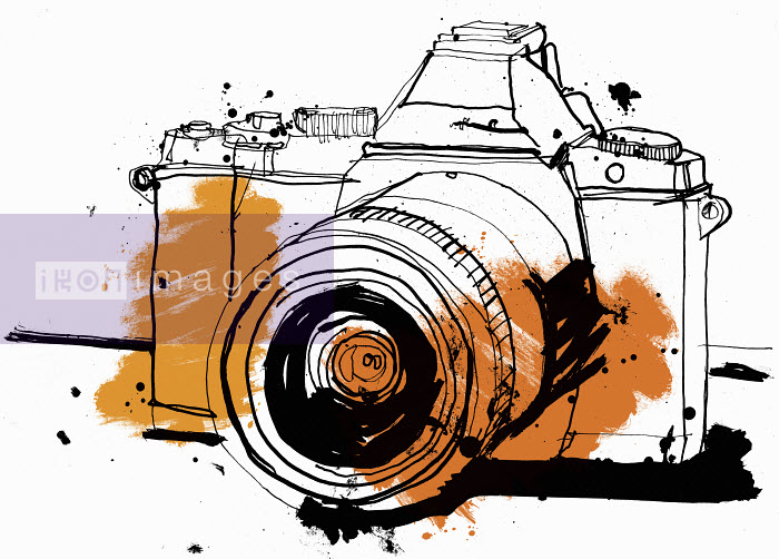 Close up drawing of SLR camera - Close up drawing of SLR camera - Ben Tallon
