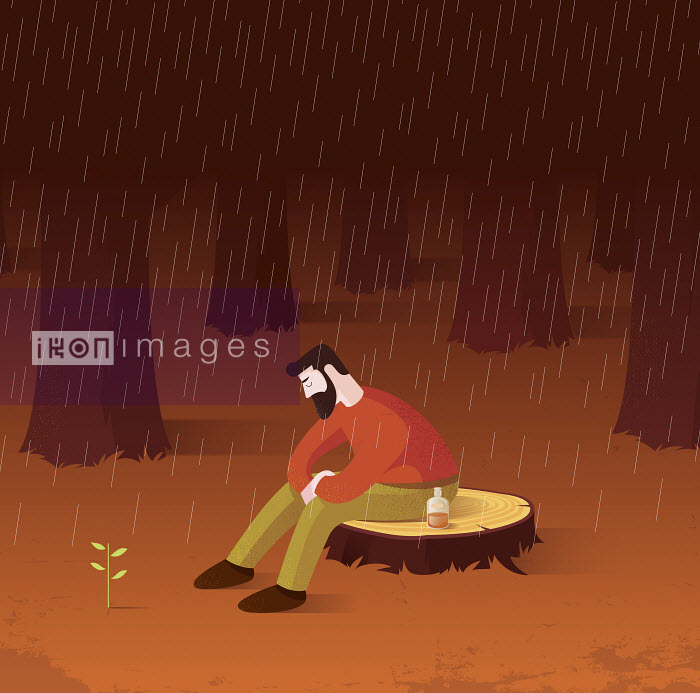 New leaves growing as sign of hope to depressed man sitting alone on tree stump in rain - New leaves growing as sign of hope to depressed man sitting alone on tree stump in rain - Nick Diggory