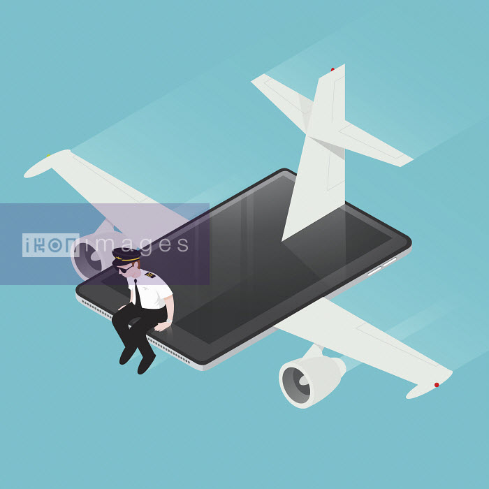 Airline pilot flying computer tablet airplane - Airline pilot flying computer tablet airplane - Nick Diggory