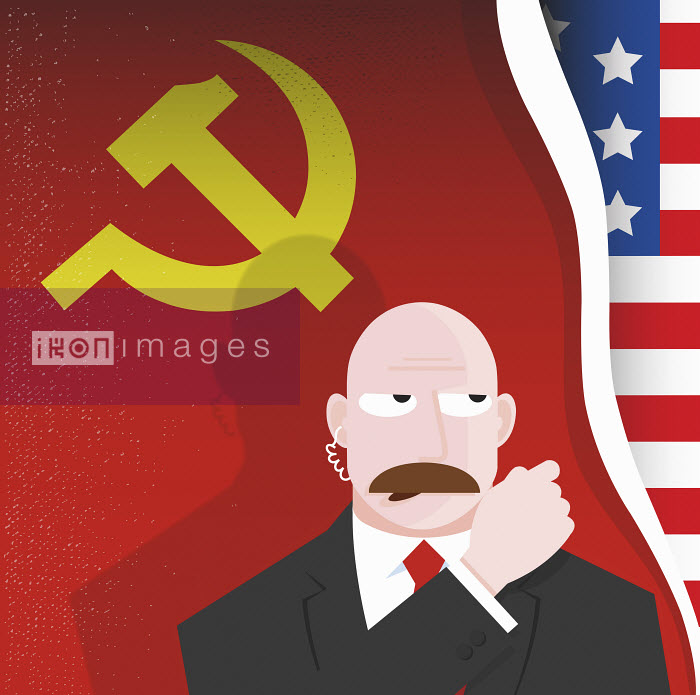Secret service agent talking into hands-free device in front of US and former USSR flags - Secret service agent talking into hands-free device in front of US and former USSR flags - Nick Diggory