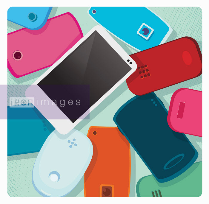 Modern white smart phone standing out from pile of old-fashioned mobile phones - Nick Diggory