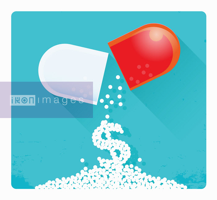 Dollar sign falling from broken pill capsule - Nick Diggory