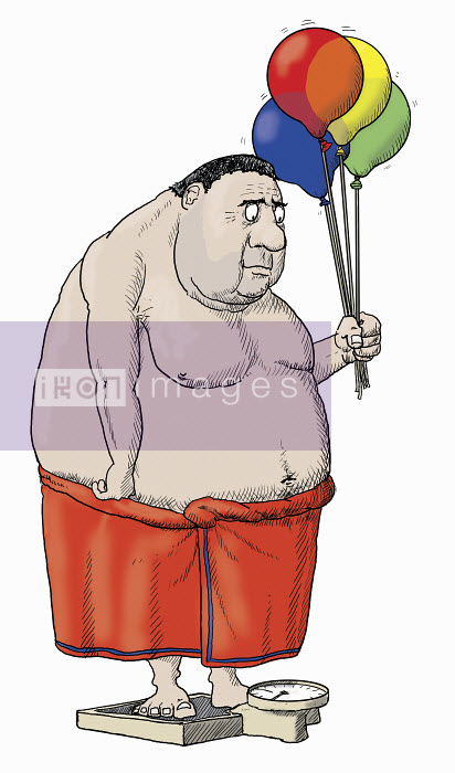 Overweight man standing on bathroom scales holding balloons - Overweight man standing on bathroom scales holding balloons - Andrew Pinder