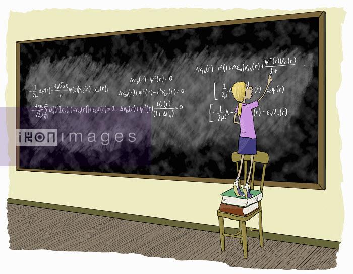 Little girl standing on chair doing complex mathematical formulae on blackboard - Little girl standing on chair doing complex mathematical formulae on blackboard - Andrew Pinder