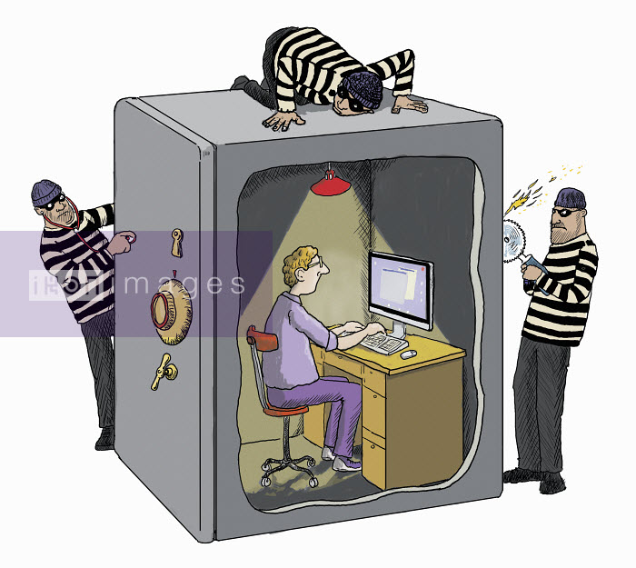 Burglars struggling to access man working on computer protected inside of safe - Burglars struggling to access man working on computer protected inside of safe - Andrew Pinder