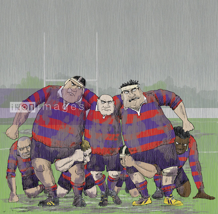 Snarling aggressive older rugby players forming scrum - Andrew Pinder