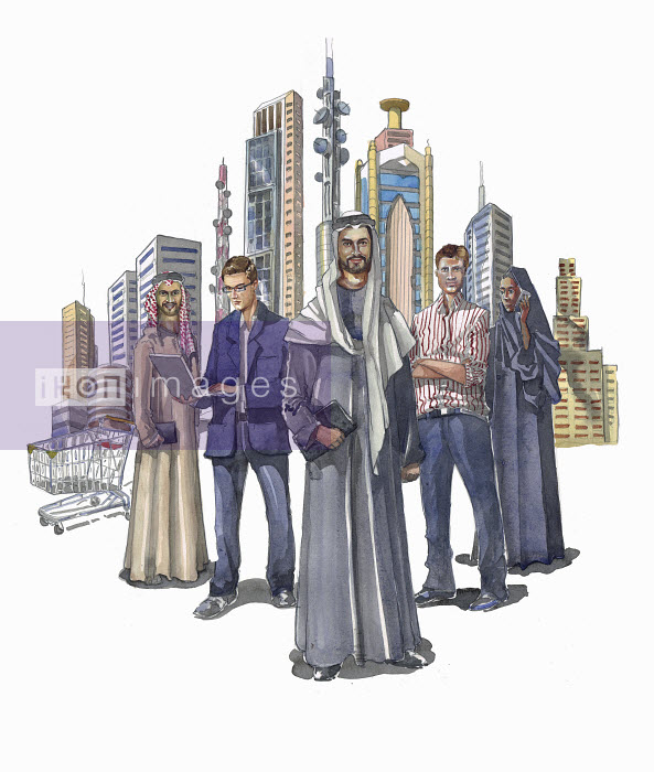 Group of business people standing in front of city skyscrapers - Group of business people standing in front of city skyscrapers - Liam O'Farrell