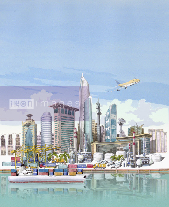 Busy city container port and oil refinery - Busy city container port and oil refinery - Liam O'Farrell