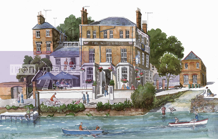 Watercolor painting of the White Cross pub, Richmond, Richmond Upon Thames - Watercolor painting of the White Cross pub, Richmond, Richmond Upon Thames - Liam O'Farrell