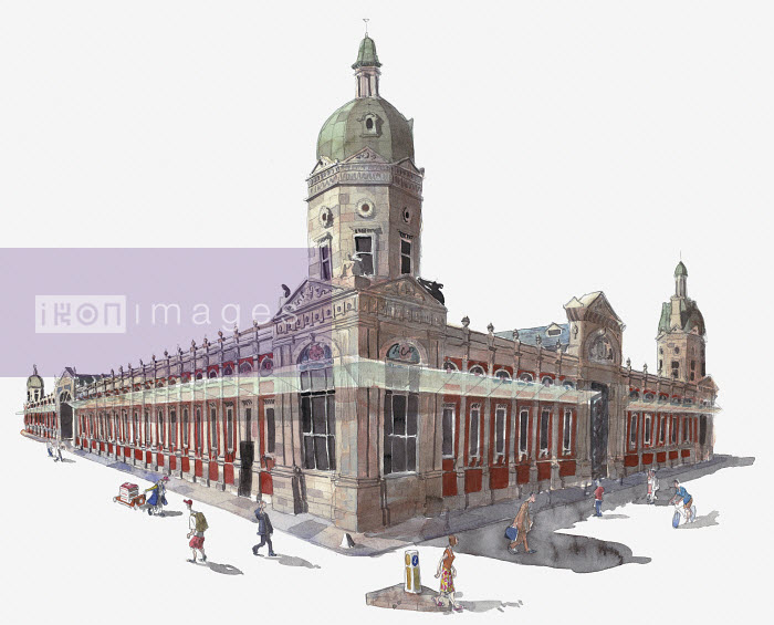 Watercolor painting of Smithfield Market, London - Watercolor painting of Smithfield Market, London - Liam O'Farrell