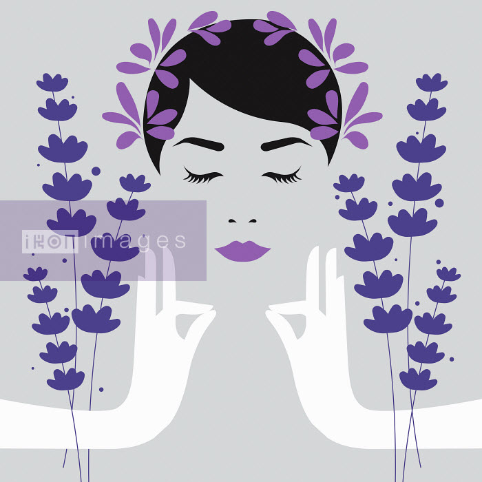 Woman meditating with lavender aromatherapy - Woman meditating with lavender aromatherapy - Bahar
