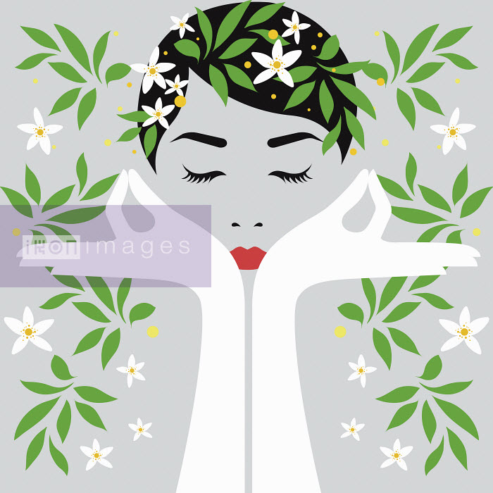 Woman meditating surrounding by flowers - Woman meditating surrounding by flowers - Bahar