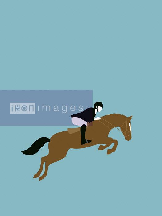 Woman riding jumping horse - Woman riding jumping horse - Bahar