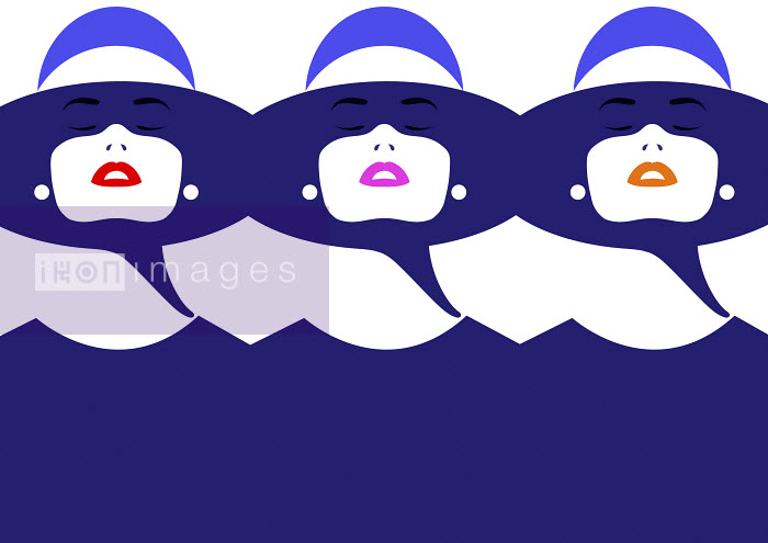 Repeated face of beautiful woman wearing different colored lipstick - Repeated face of beautiful woman wearing different colored lipstick - Bahar