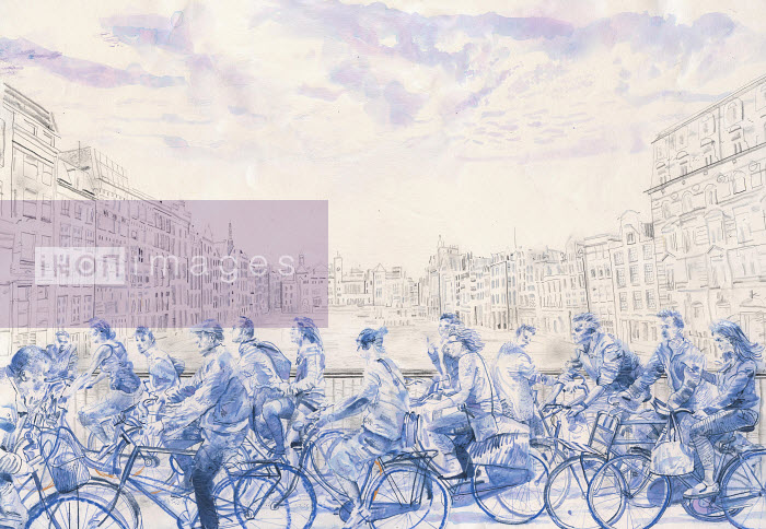 Blue watercolor painting of lots of cyclists crossing bridge in Amsterdam, the Netherlands - Blue watercolor painting of lots of cyclists crossing bridge in Amsterdam, the Netherlands - Derek Bacon Unplugged