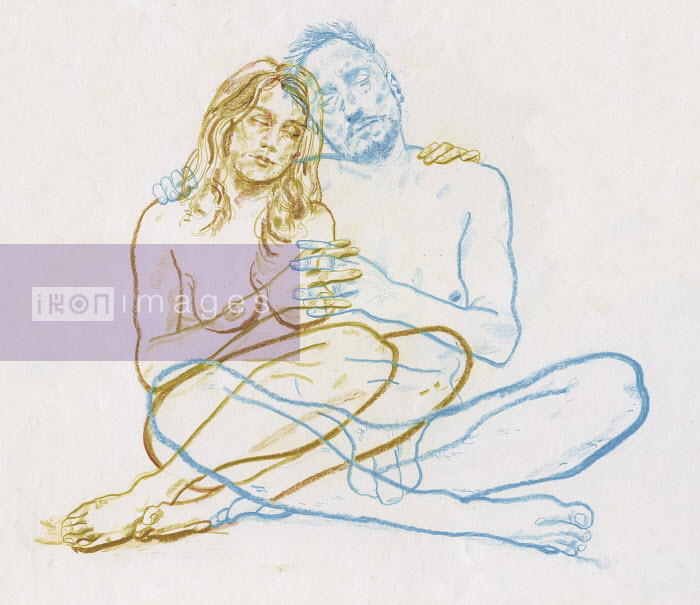 Overlapping drawing of naked couple embracing - Overlapping drawing of naked couple embracing - Derek Bacon Unplugged