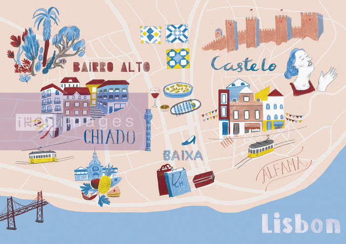 Illustrated map of Lisbon, Portugal - Illustrated map of Lisbon, Portugal - Iratxe Lopez De Munian