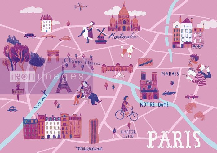 Illustrated map of Paris, France - Illustrated map of Paris, France - Iratxe Lopez De Munian