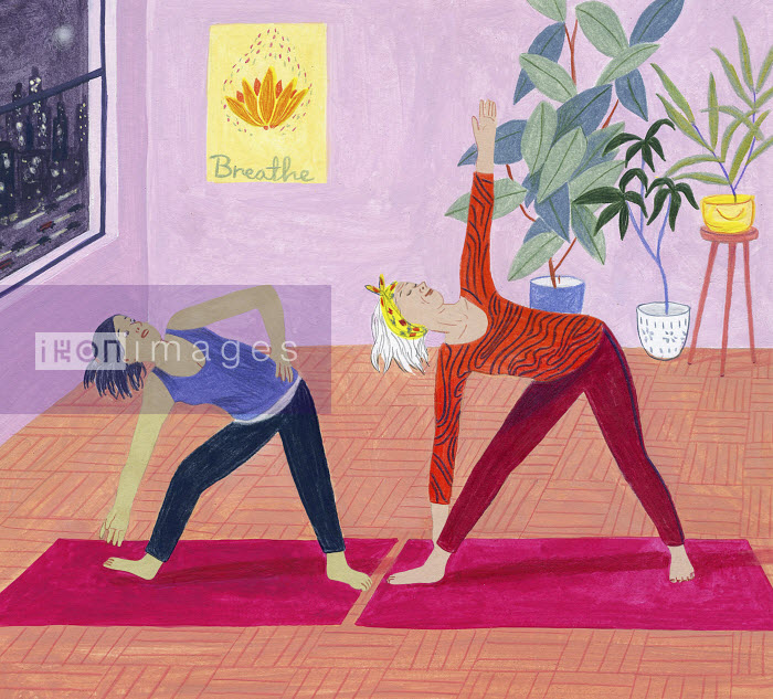 Young woman struggling in exercise class with fit older woman - Young woman struggling in exercise class with fit older woman - Iratxe Lopez De Munian