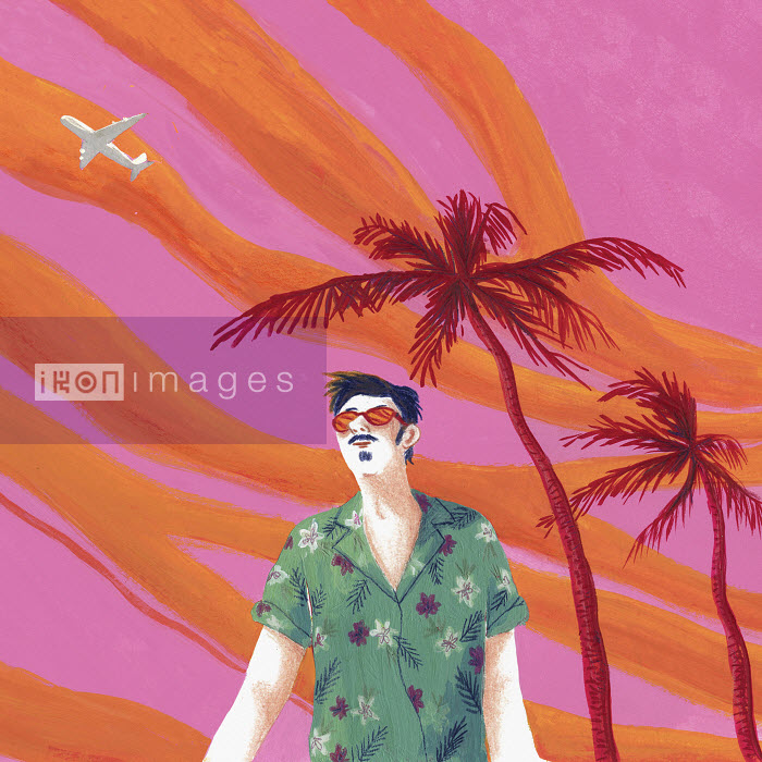 Man in sunglasses on tropical holiday against dramatic sky - Man in sunglasses on tropical holiday against dramatic sky - Iratxe Lopez De Munian