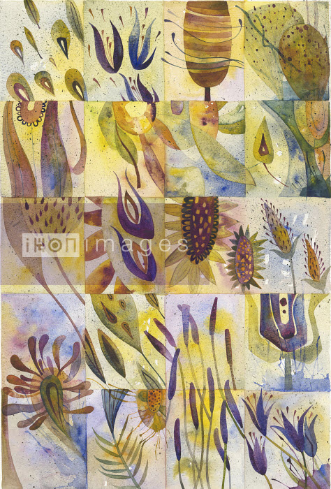 Watercolor painting of plant details in grid pattern - Watercolor painting of plant details in grid pattern - Jenny Reynish