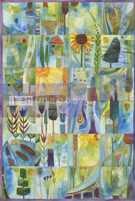 Watercolor painting of trees and plants in grid pattern - Watercolor painting of trees and plants in grid pattern - Jenny Reynish