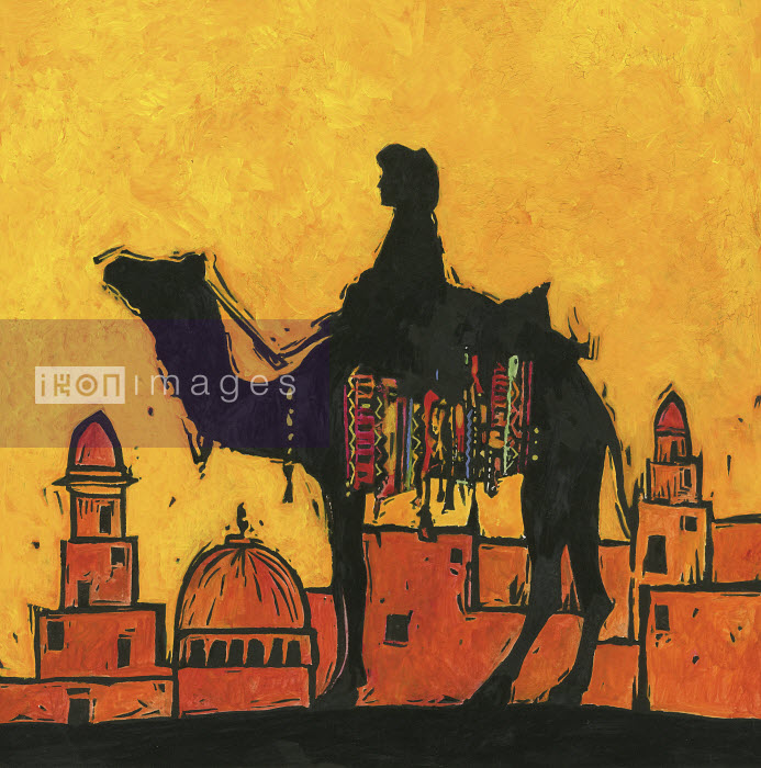 Silhouette of camel and rider against Middle Eastern cityscape - Silhouette of camel and rider against Middle Eastern cityscape - Jenny Reynish
