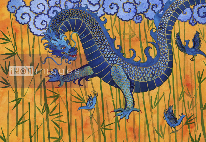Chinese dragon with blue birds and bamboo - Chinese dragon with blue birds and bamboo - Jenny Reynish