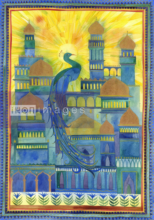Sun shining on peacock and city architecture in India - Sun shining on peacock and city architecture in India - Jenny Reynish