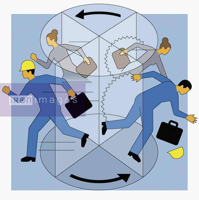 Workers rushing in and falling out of revolving door - Klaus Meinhardt