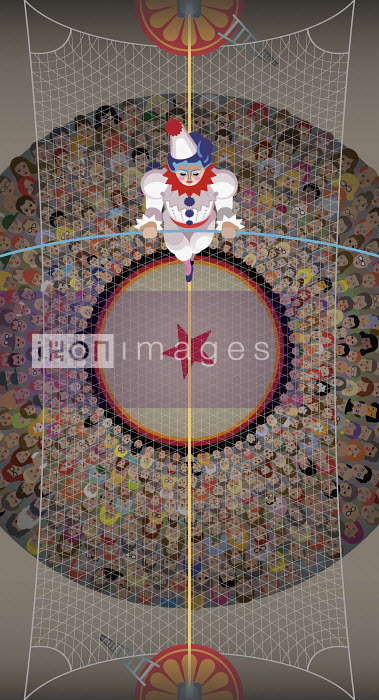 Overhead view of clown walking the high wire above the circus crowd - Klaus Meinhardt