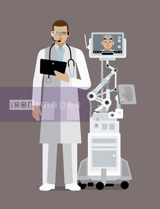 Doctor using digital technology to communicate with colleague - Klaus Meinhardt