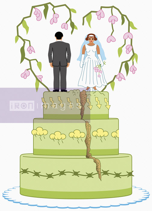Angry bride and groom on top of split wedding cake - Klaus Meinhardt