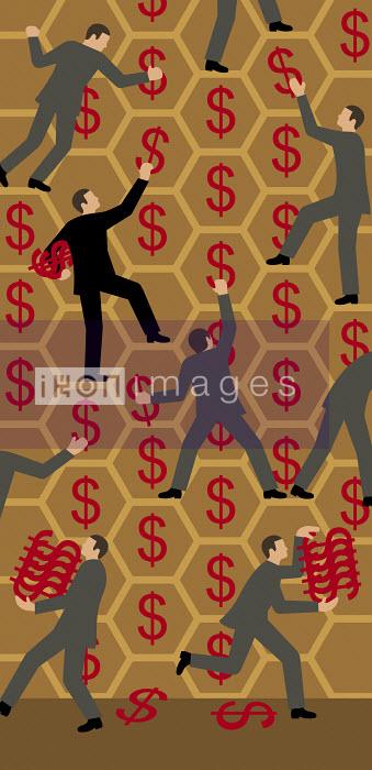 Businessmen gathering dollar signs from honeycomb - Klaus Meinhardt