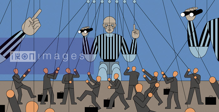 Lots of small businessmen controlling large referee puppets - Klaus Meinhardt