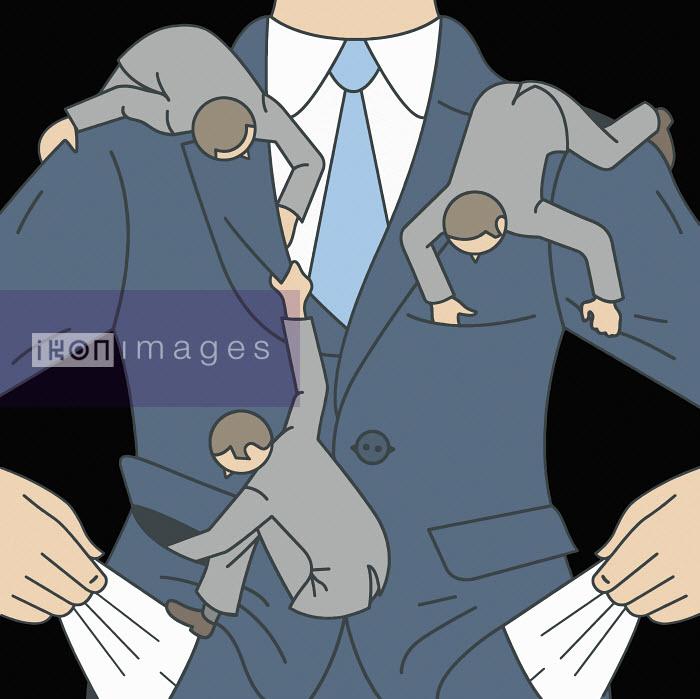 Small men searching empty pockets of businessman - Klaus Meinhardt