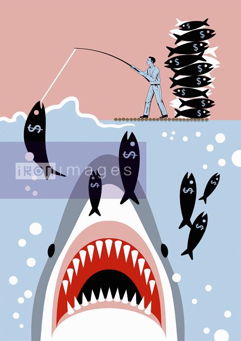 Businessman catching dollar sign fish unaware of shark - Klaus Meinhardt
