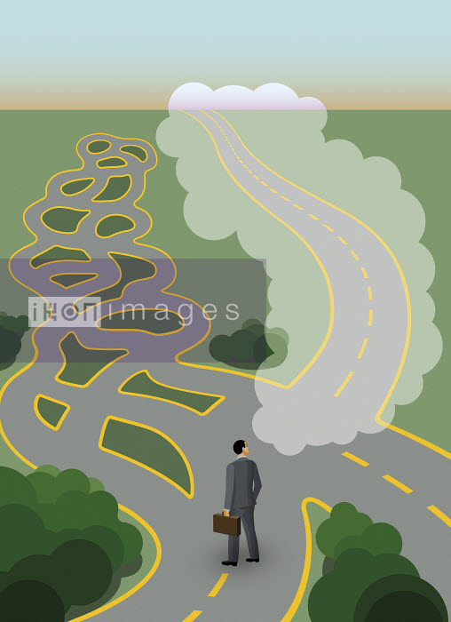 Businessman at crossroads with complex maze but dreaming of straight path - Klaus Meinhardt