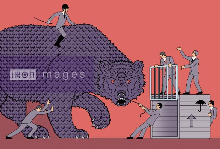 Businessmen in futile struggle with large aggressive bear - Klaus Meinhardt