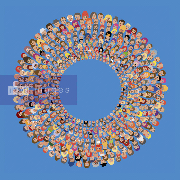 Lots of people's faces in concentric circles - Klaus Meinhardt