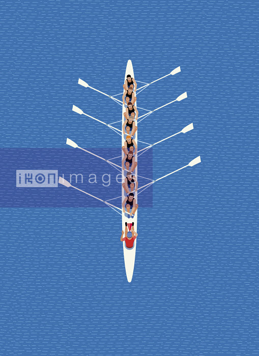 Overhead view of male rowing eight team - Klaus Meinhardt
