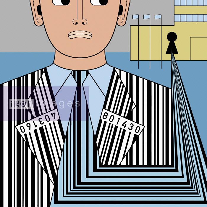 Building collecting barcode data from anxious man - Klaus Meinhardt
