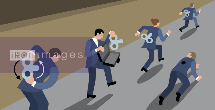 Clockwork business people competing in race - Klaus Meinhardt