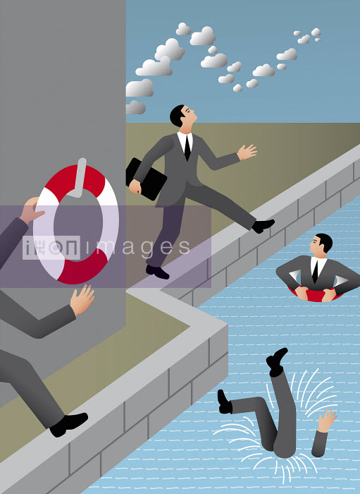 Businessmen with head in the clouds falling in water - Klaus Meinhardt