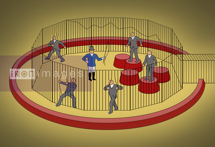 Businessmen escaping from cage ignoring circus ringmaster - Klaus Meinhardt
