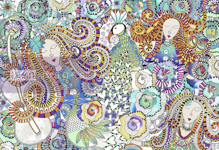 Women's faces, peacocks, hearts and flowers in intricate ornate pattern - Hannah Davies