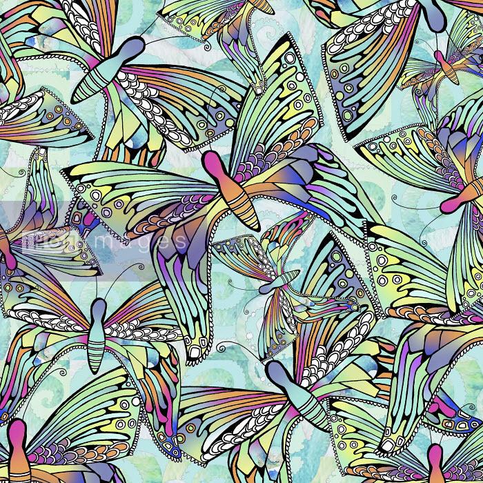 Full frame backgrounds pattern of iridescent butterflies - Hannah Davies